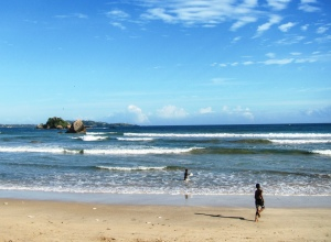 children at the beach in weligama