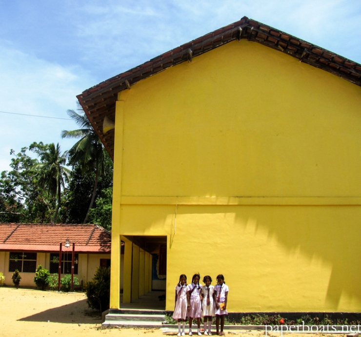 Students at a refurbished government school in Jaffna district.